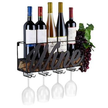 Naścienny stojak na wino korek do przechowywania pojemnik na kieliszki do wina stojak na kieliszki do wina stojak do przechowywania wina strona główna kuchnia dekoracja baru akcesoria tanie i dobre opinie CN (pochodzenie) 8 5inch samodzielnie Metal STAINLESS STEEL 16 5*8 5*4 5inch Nowoczesne Wine Glass Holder 16 5inch Nowoczesna i minimalistyczna