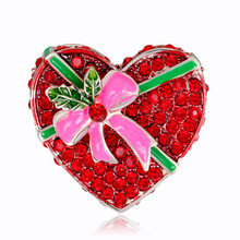New fashion Christmas brooch alloy diamond drop bow love heart brooch factory direct stock new in stock lts6 np direct order