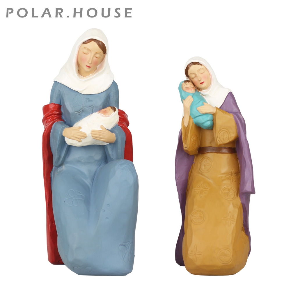 Catholic Religious Blessed Virgin Mary Statues Jesus Sacred Heart Figurine Living Room Resin Sculpture Home Decoration Miniature