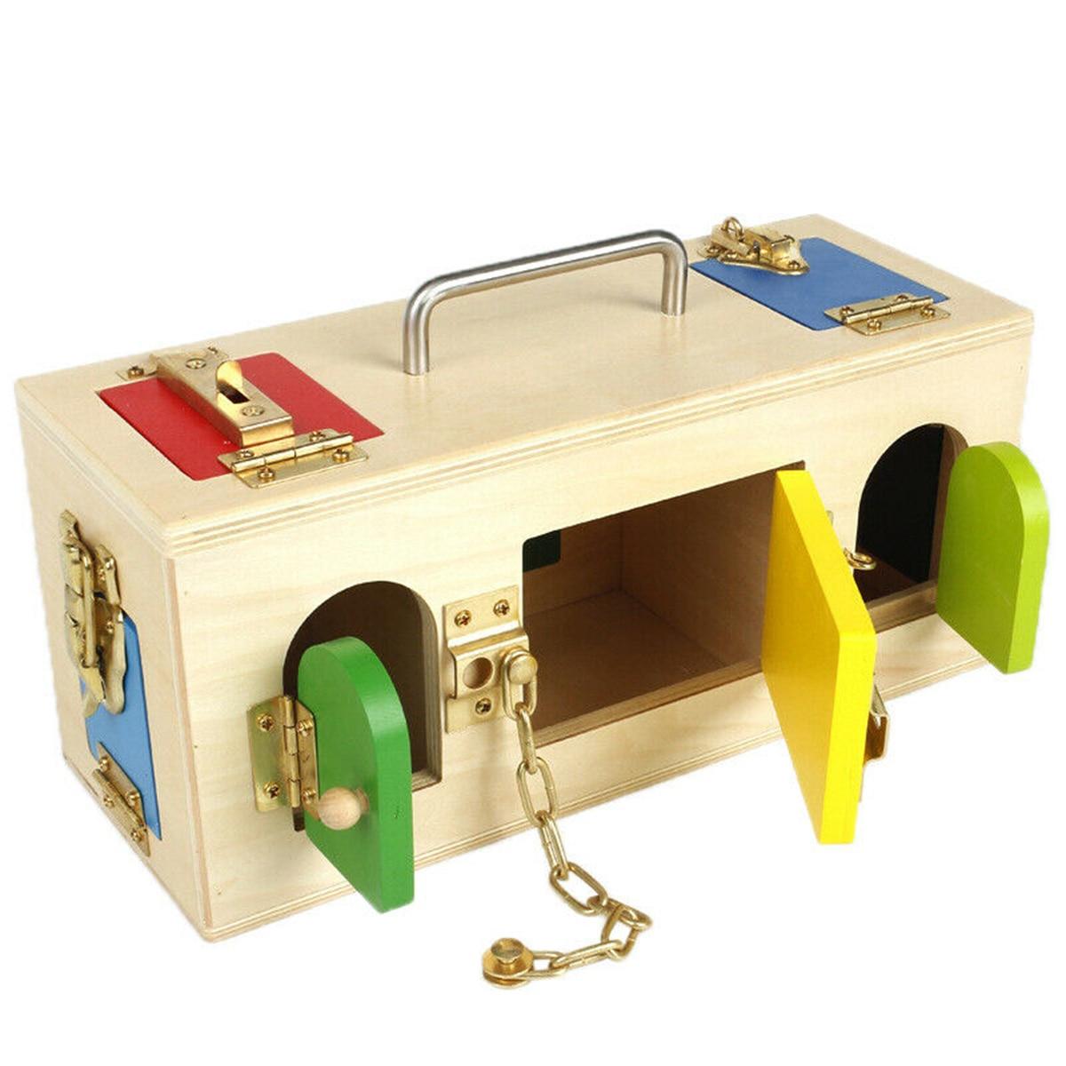 Montessori serrure boîte vie pratique jouet ouvrir la serrure clé éducatifs en bois jouets pour enfants de base et compétences de la vie jouets d'apprentissage - 2