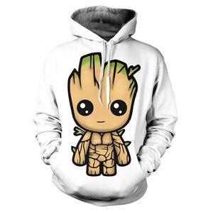 Image 1 - 2019 strażnicy galaktyki Groot mężczyźni bluzy bluzy 3D drukowane śmieszne bluza z kapturem hip hopowa Streetwear swetry z kapturem mężczyzn topy