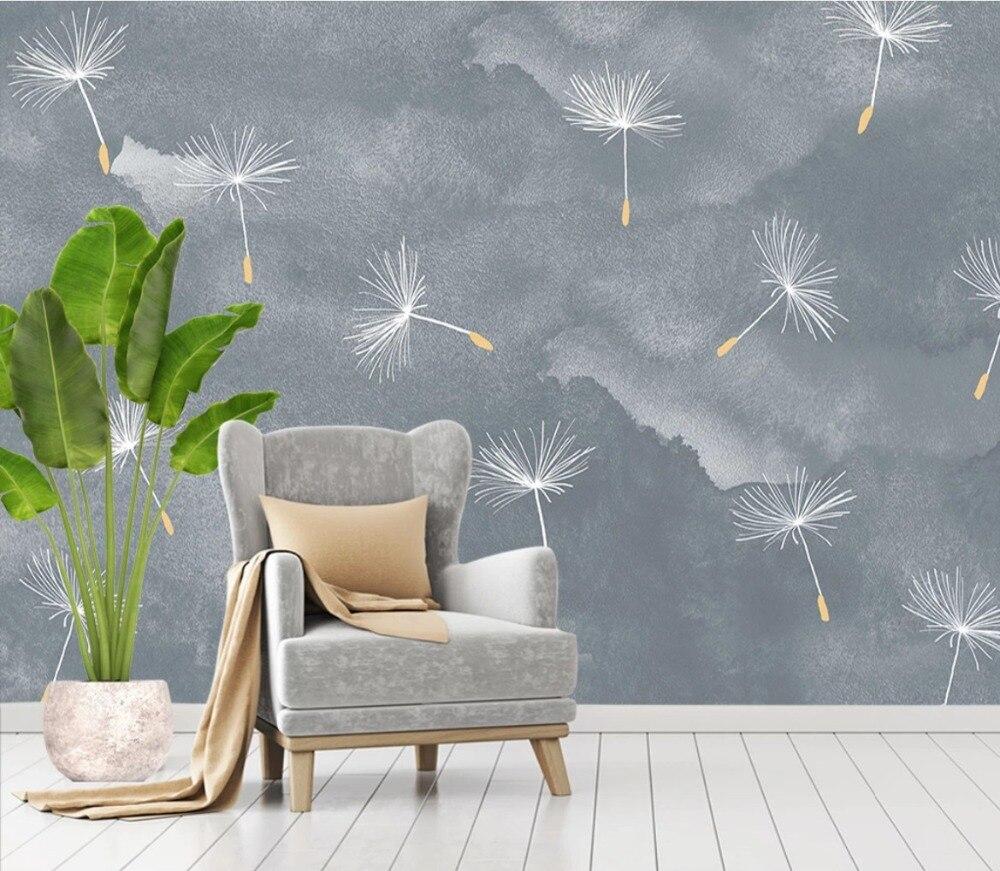 Large Custom Mural Modern Minimalist Senior Gray Abstract Small Fresh Dandelion Background Wall Wallpaper Wall Cloth