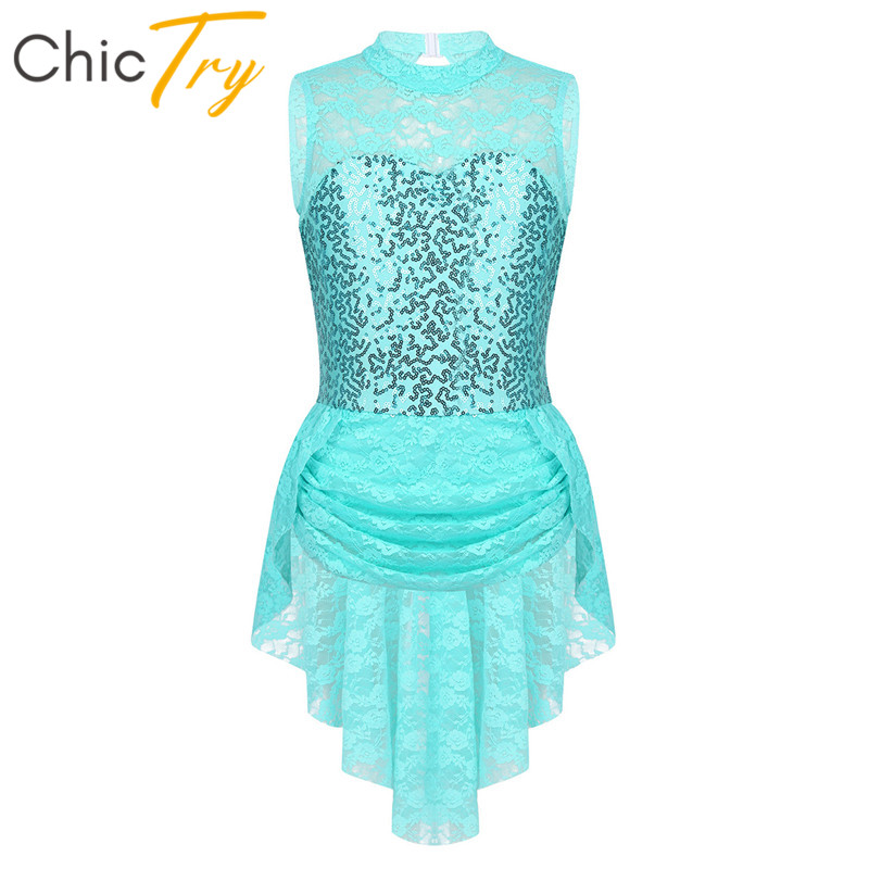 ChicTry Sleeveless Sequins Floral Lace Keyhole Back Kids Figure Ice Skating Dress Girls Ballet Gymnastics Leotard Dance Costume