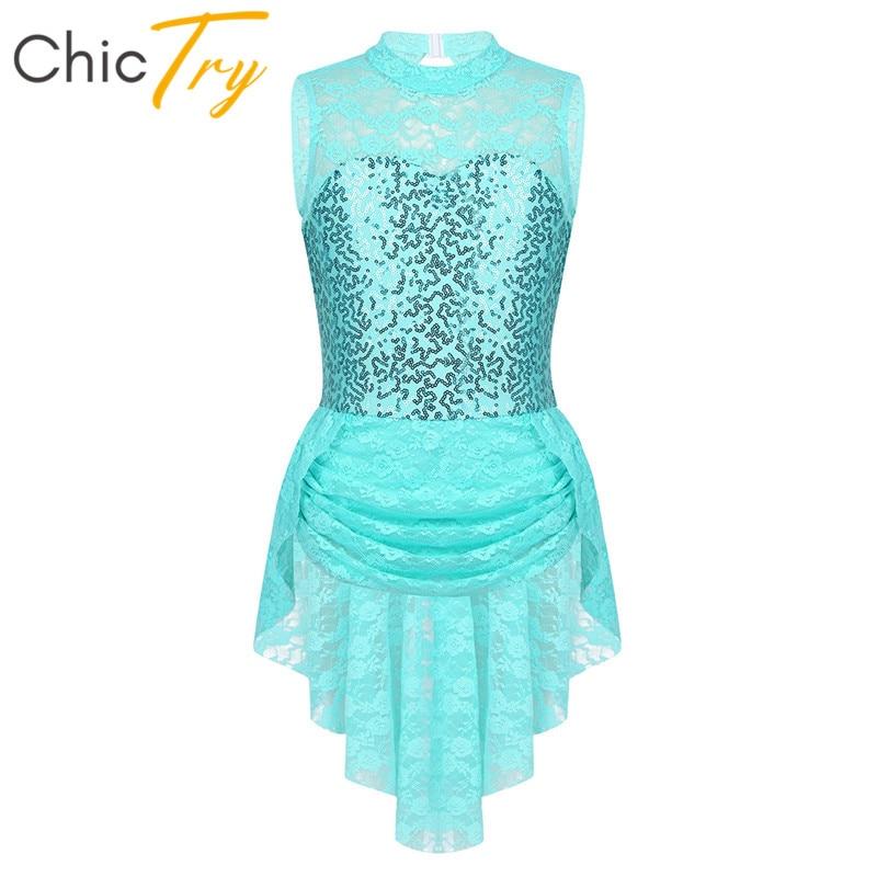 ChicTry Sleeveless Sequins Floral Lace Keyhole Back Kids Figure Ice Skating Dress Girls Ballet Gymnastics Leotard Dance Costume