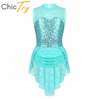 ChicTry Sleeveless Sequins Floral Lace Keyhole Back Kids Figure Ice Skating Dress Girls Ballet Gymnastics Leotard Dance Costume - DISCOUNT ITEM  31% OFF All Category