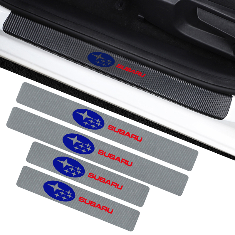 4Pcs Carbon Fiber Dustproof Car Door Threshold Sticker For Subaru LEGACY Forester Outback Impreza Emblem Accessories