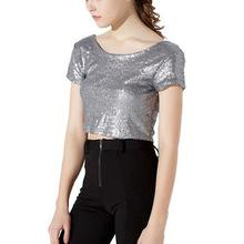Summer Crop Tops 2019 Fashion Womens Sequin Cropped Top O-Neck Tee Shirt Short Sleeve Casual T-shirt Female Solid Shiny Tshirt