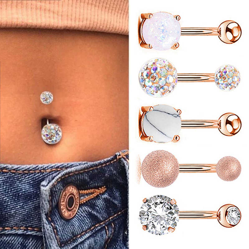 1 Pc Sexy Navel Piercing Belly Ring Belly Button Rings Barbell Bar Zirkoon Bungelende Ombligo Party Ronde Voor Vrouw Body sieraden 14G