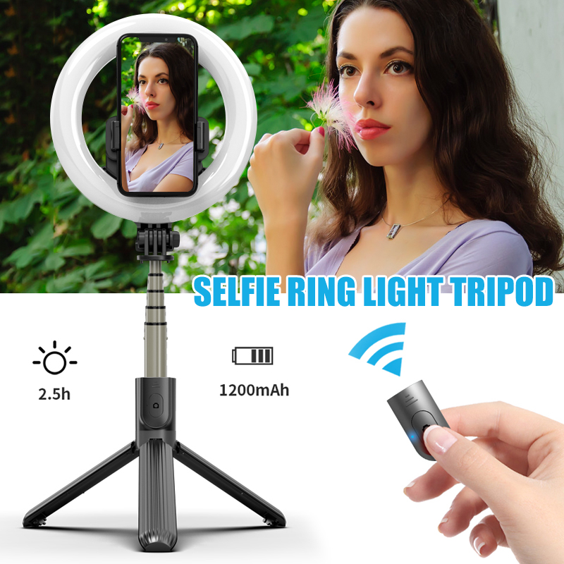 Photo LED Selfie Stick Ring Fill Light Dimmable Camera Phone Ring Lamp with Stand Tripod for Makeup Video Live Studio KQ