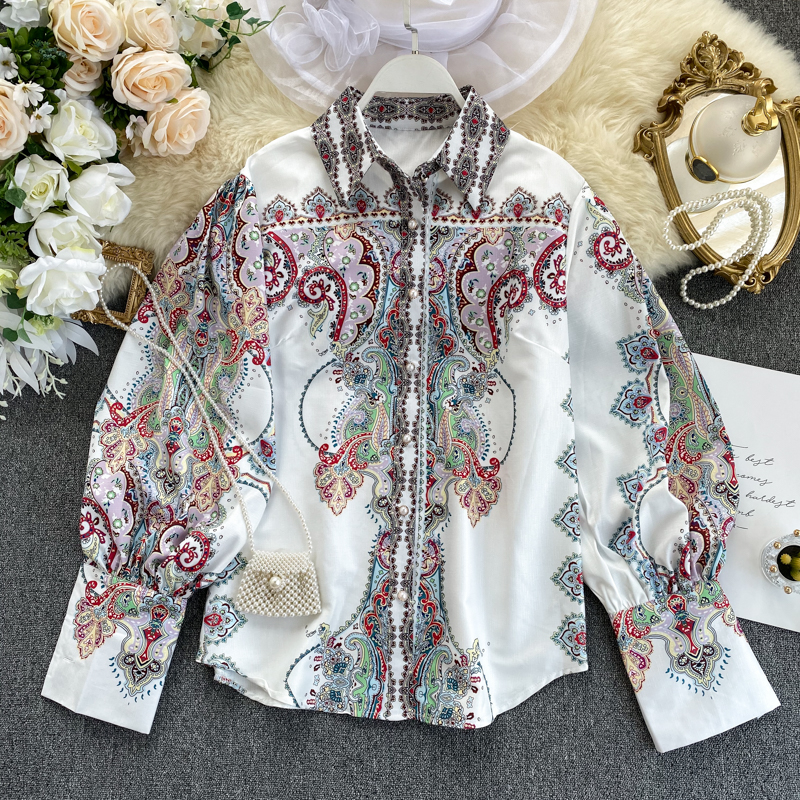 Spring Autumn New Single-breasted Printing Puff Sleeve Women Shirt Retro Slim Fit Blouse Female Long Sleeve Lapel Fashion Blusas