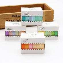 Conjunto de 6 rolos de fita rosa lila, verde, roxo, laranja, azul, amarelo, colagem, klebeband, adesivo de scrapbook diy, máscara de etiqueta fita adesiva