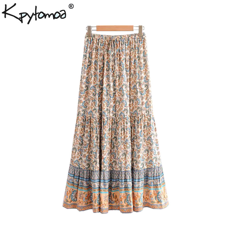 Boho Chic Summer Vintage Floral Print Maxi Skirt Women 2019 Fashion Elastic Waist Drawstring Pleated Beach Skirts Faldas Mujer