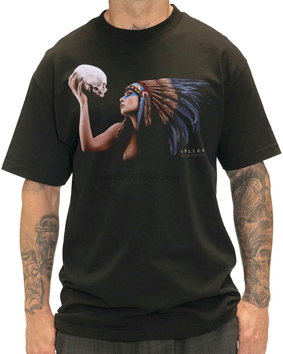 Sullen Clothing Ritual Mens T Shirt Tee Black Skull Native Tattoo Goth Short Sleeves New Fashion T Shirt Men Clothing(China)