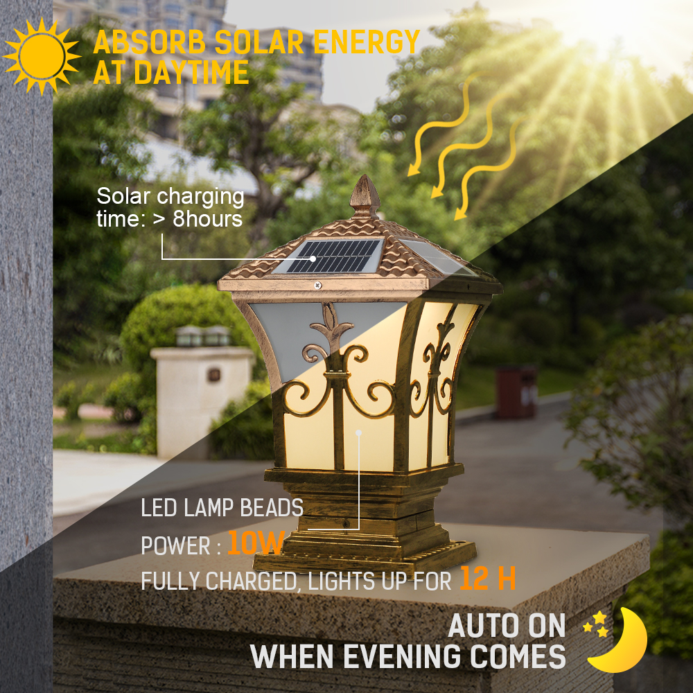 Remote Control 10W Lantern Solar Garden Light Iron Lamp IP65 Waterproof 3 Color changing for Outdoor Backyard use DINGDIAN LED - 5
