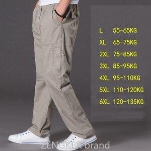 Image 3 - Lente zomer casual broek mannelijke big size 6XL Multi Pocket Jeans oversized Broek overalls elastische taille broek plus size mannen