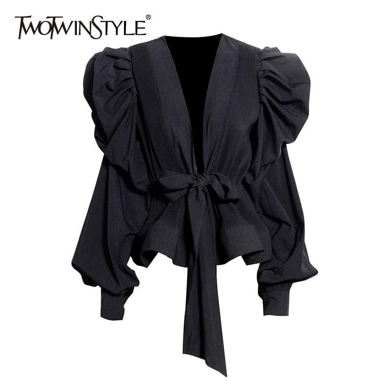 TWOTWINSTYLE Elegant Women Shirt V Neck Lantern Long Sleeve Ruched Lace Up Bow Sexy Blouse Female Fashion 2020 Spring Clothing