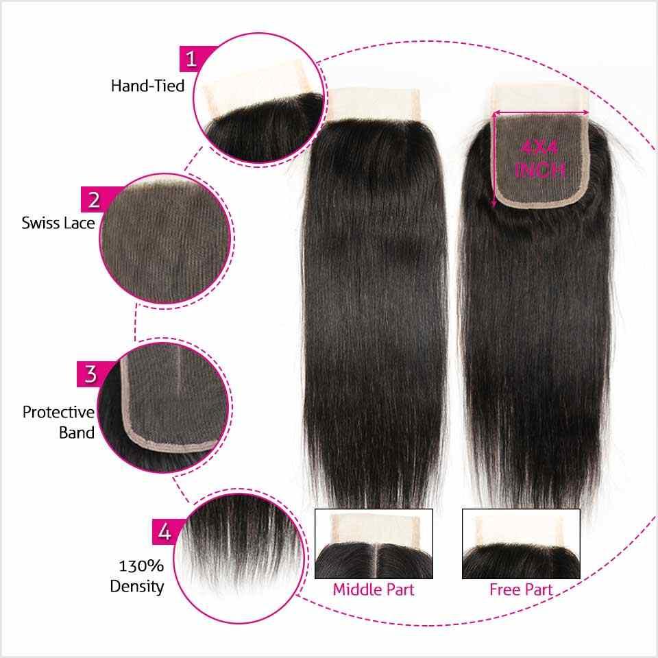 Paquetes de pelo liso brasileño de Ali Grace con cierre 4*4 parte media libre 2 opciones 100% humano Remy pelo con cierre