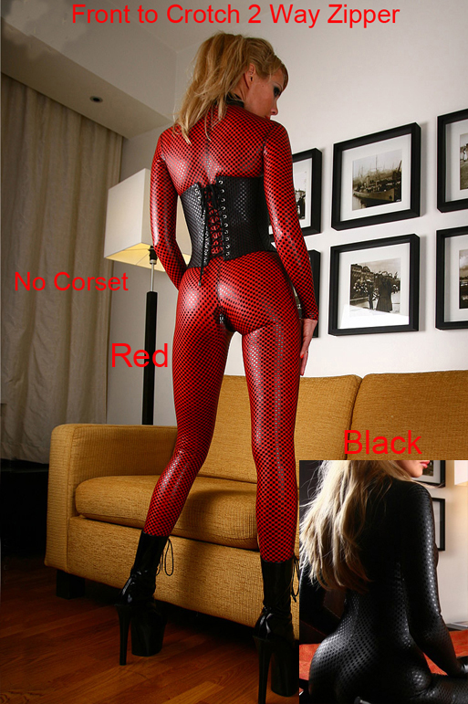 Red Sexy Women Catsuit Zipper Costume Faux Leather Jumpsuit Party Sexy Dance Costume