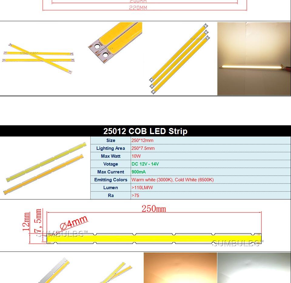 DC12V COB LED Strip Light Source 5W 10W 20W 50W 200W 300W LED Bulb White Blue Red Flip Chip COB Lamp DIY House Car Lighting 12V (13)
