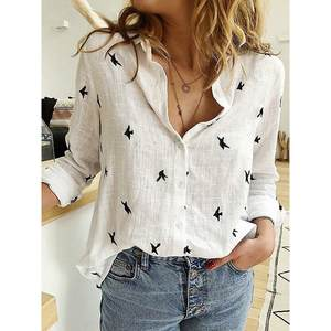 Deruilady Blouse Casual Office-Shirt Animal-Print Plus-Size Long-Sleeve Vintage Fashion