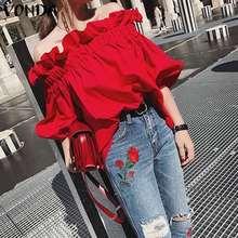 VONDA Women Ruffle Sleeve Ruffled Blouse Shirts 2020 Summer