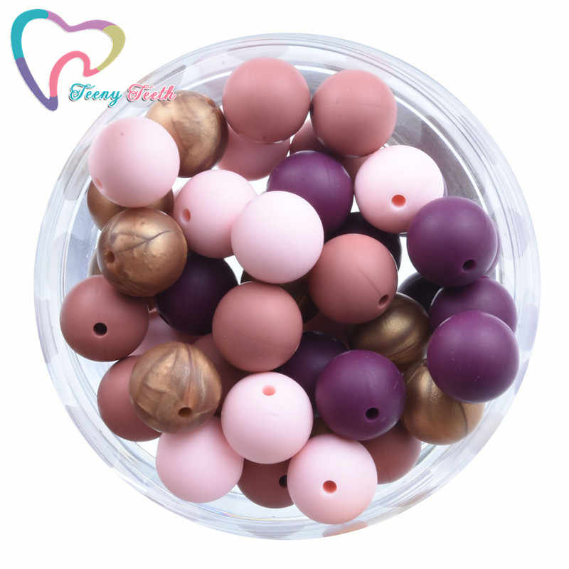 20 PCS 4 Colors Mix Red Wine Candy Pink Copper 9-15 MM Silicone Round Teether Beads BPA Free Baby Teething Beads Baby Teether