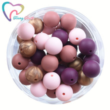 20 PCS 4 Colors Mix Red Wine Candy Pink Copper 9-15 MM Silicone Round Teether Beads BPA Free