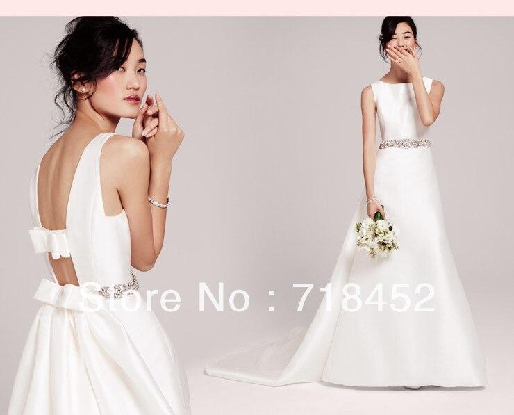 Custom High Neck Wedding Dresses 2019 A Line Crystal With Train Robe De Mariee Free Shipping Vestido De Noiva Wedding Dress