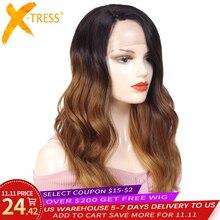 Ombre Braun Blonde Rosa Synthetische Spitze Front Perücken Lange Körper Welle Seite Teil Blau Grau Cosplay Haar Perücke X TRESS Afrikanischen haarteil