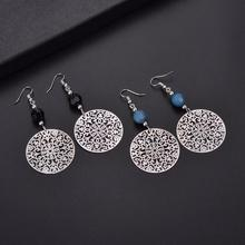 Hollowed-out round earring drop jewel
