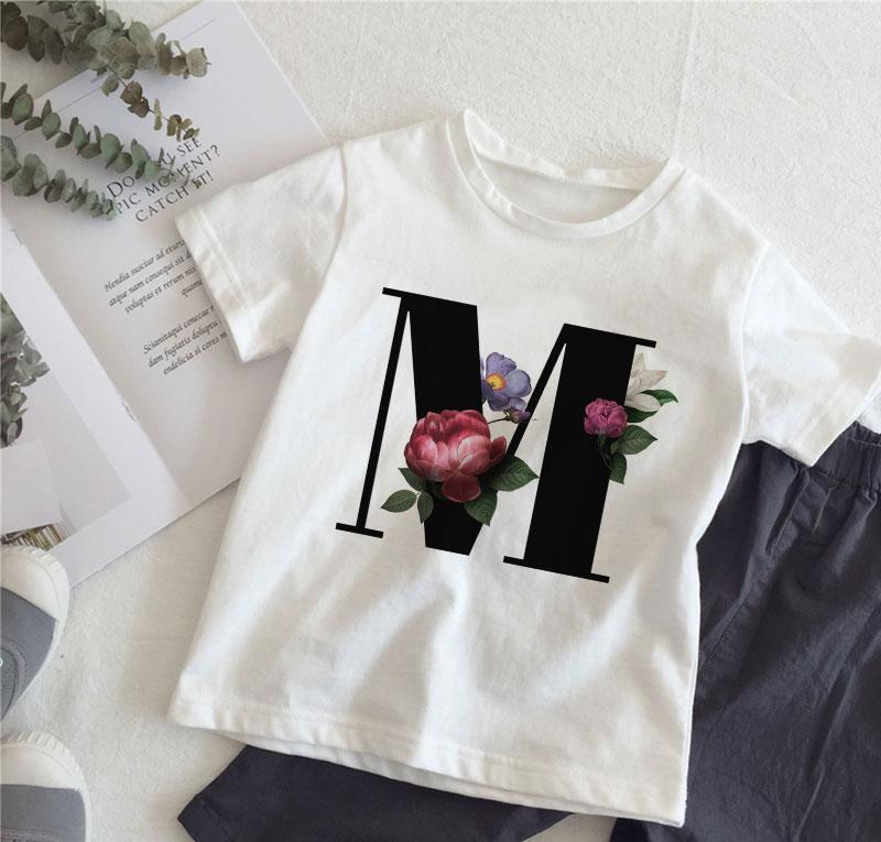 Новинка; футболка для девочек с цветочным принтом и английским алфавитом; футболка для отдыха для девочек; детская футболка для мальчиков в стиле Харадзюку; Kawaii; Детские топы; Vogue|Тройники| - AliExpress