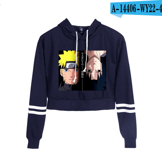 Now United Crop Top Hoodies Harajuku Japanese Anime Uzumaki Printed Hoodie Women Streetwear Fashion Cropped Sweatshirt Coat 13
