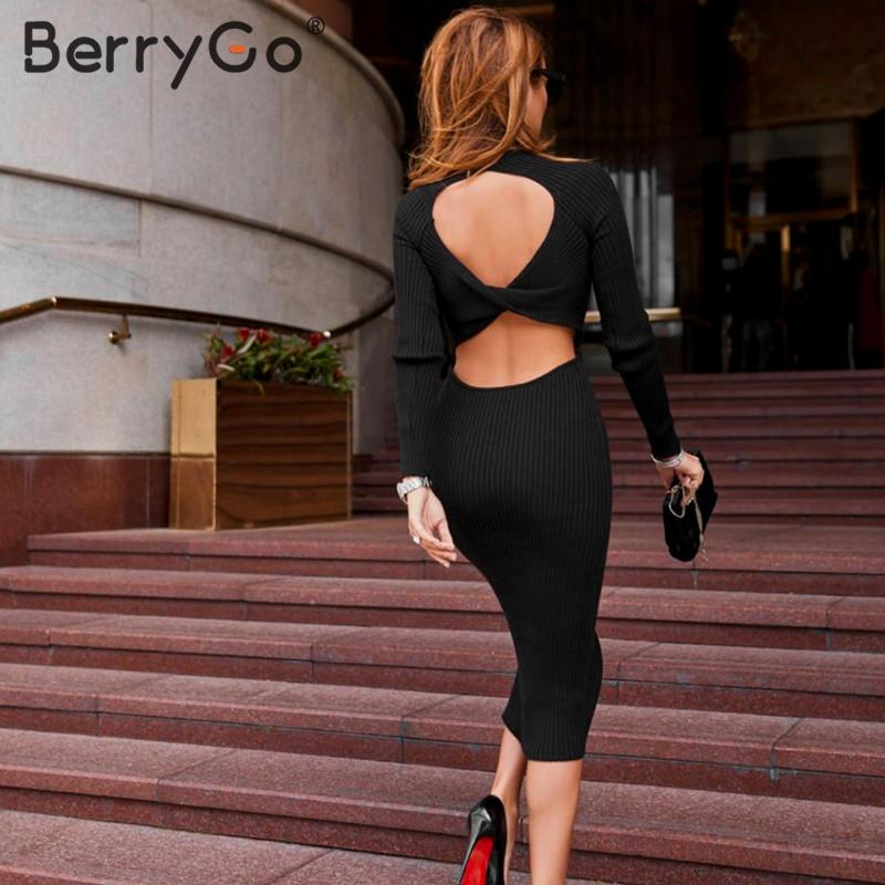Image 3 - BerryGo Sexy backless knitted bodycon dress women Sheath o neck sweater party dress Elegant ladies long sleeve autumn dressesDresses   -