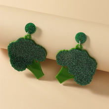 Новые милые акриловые большие зеленые висячие серьги брокколи