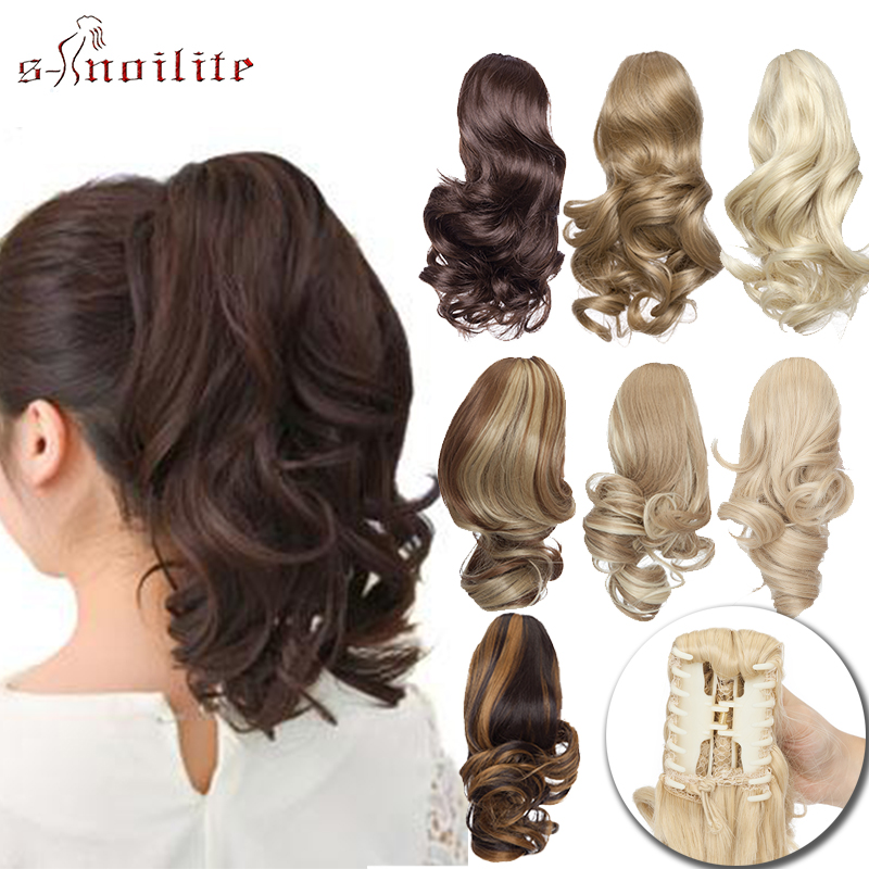 S-noilite Wavy Ponytail Claw On Ponytail Synthetic HairPiece Clip In Hair Extensions Fake Hair Black Brown For Women Hair