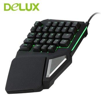 Programmable Keys Delux T9 Pro Single Handed Game keyboard one hand Ergonomic Gaming Keypad For PUBG gun PC Laptop 5