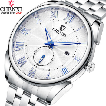 Silver Stainless Steel Men Casual Watches 30M Waterproof Stylish Blue Night Pointer Fashion Business Quartz Wristwatch for Male welly merck silver stainless steel for men