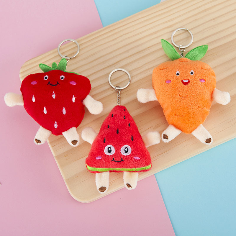 10cm Mini Watermelon Carrot Strawberry Plush Keychain Doll Stuff Plush Soft Doll Bag Decoration Key Ring For Girls Children Gift