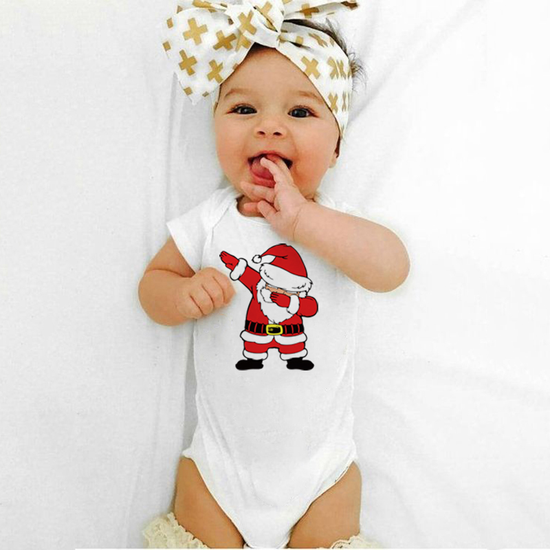 Newborn Baby Christmas Bodysuit Dabbing Santa Claus Print Cute Infant Boy Girl Jumpsuit Toddler Cotton Short Sleeve Funny Outfit
