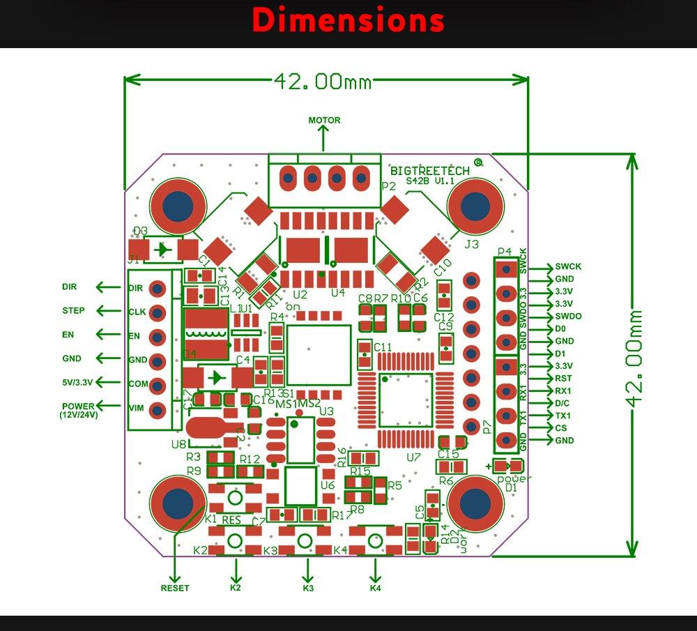 Bigtreetech s42b v1.1 42 motor deslizante circuito