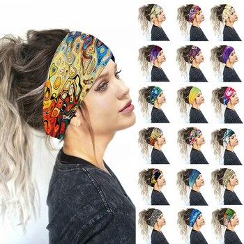 Bohemia Wide Stretch Women Sports Yoga Headbands Floral Prints Elastic Hair Bands For Women Headwrap