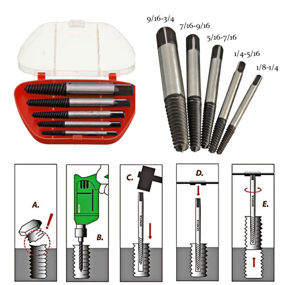 5pcs/lot High Carbon Steel Damaged Screw Extractor Easy Out Set Drill Bits Broken Bolt Stud Remover Tools With Plastic Box
