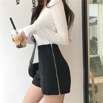 2020 New Autumn Winter Women High Waisted Woolen Shorts Female Korean Style Loose Fashion Elegant Warm Thick Shorts Q402