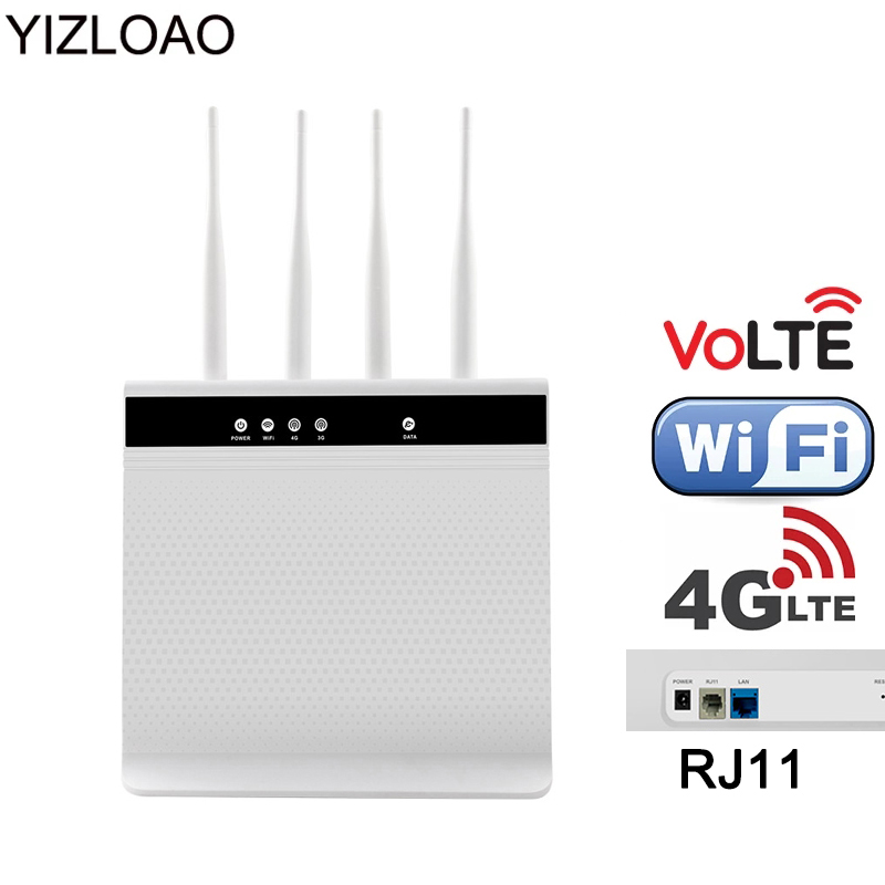 YIZLOAO 4G VoLTE Wifi Router Wireless Voice Call Router Mobile Hotspot Broadband Telephone Modem With Sim Slot RJ11 LAN Port