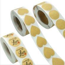 Rouleau d'autocollants en forme de cœur/rond, 500 pièces/pack, étiquette en papier Kraft de 25*25mm avec inscription love, peau de vache,
