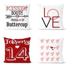 цена на Valentine's Day lovers pillowcase plain peach skin Hotel print decoration pillowcase car cushion Valentine's Day Pillowcase