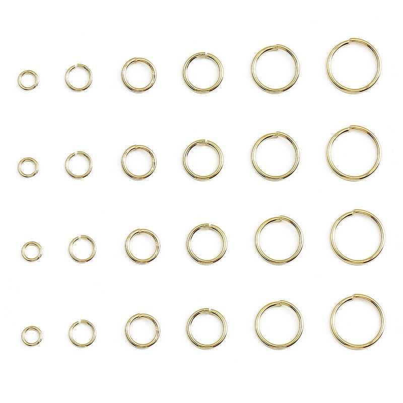 100 adet/grup 18K altın kaplama açık atlama halkası 4/5/6/8mm yuvarlak bölünmüş yüzük diy takı yapımı için bulgular