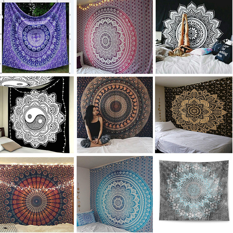 2020 India Mandala Tapestry Wall Hanging Decor Wall Cloth Tapestries Psychedelic Hippie Night Moon Tapestry Wall Beach Carpet