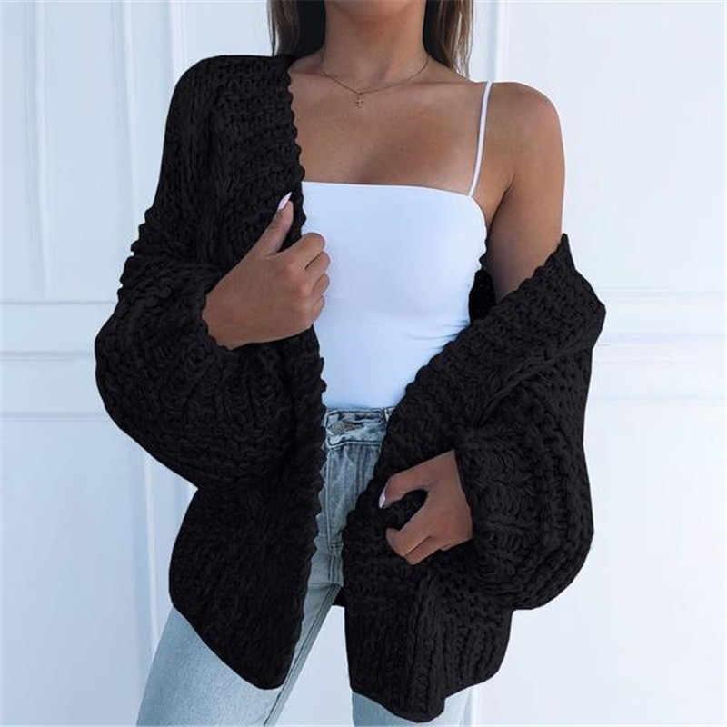 Kış kazak kadınlar 2020 artı boyutu örme moda kazak ceket siyah pamuklu hırka kadın rahat kore hırka kazak