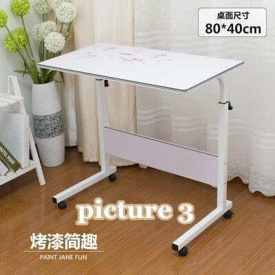 Домашний простой стол для ноутбука портативный легкий подъем подвижный настольный компьютерный стол ленивый прикроватный столик серповидный обеденный стол с грузовиками - Цвет: picture 3